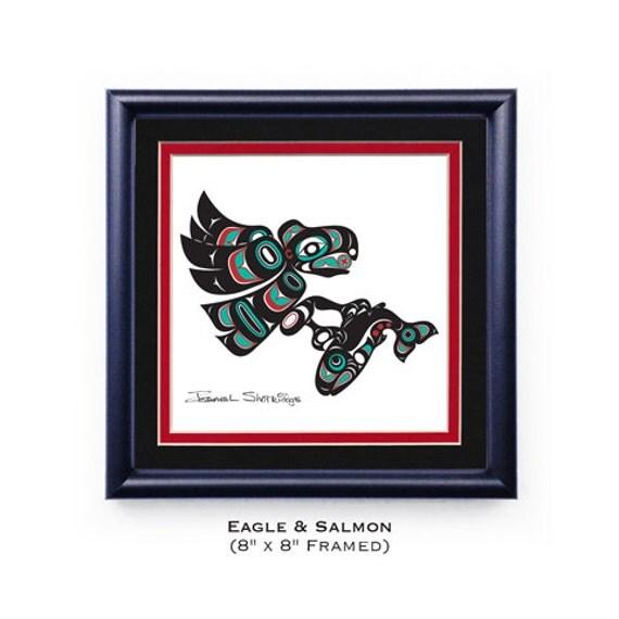 Eagle & Salmon Framed Giclée 8x8 Print Tlingit Northwest Native American Artist Israel Shotridge