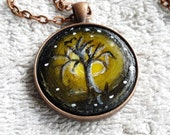 Valentines day gift .Lovely  gift autumn night tree,pendant necklace , mini painting.