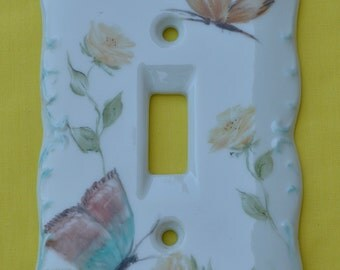 Signed Porcelain Light Switch Plate