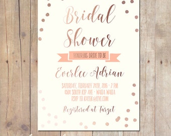 Rose Gold Tribal Confetti Bridal Shower Baby Shower Invitation Bridal Shower Printable Invitation OR Printed Card