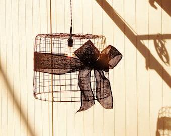 Hanging Basket Pendant Light Black Burlap - Large Metal Basket Upcycled Hanging Light