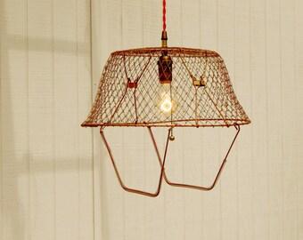 Vintage Egg Basket Light, Antique Egg Basket, Vintage Light, Pendant Light, Hanging Light, Shabby Light Fixture, Unique Light Fixture