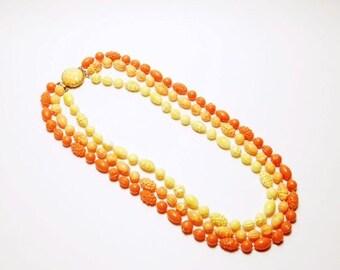 Vintage Chunky Beaded Necklace Orange Yellow Three Strand