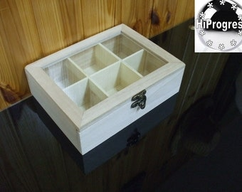 Unfinished Hinged Wood Wooden Box with Glass Lid Top