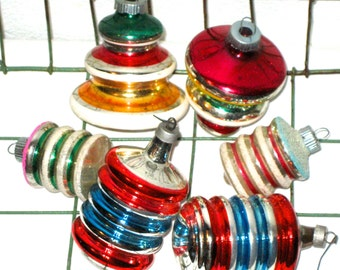 6 vintage 50s atomic tops style glass Christmas ornaments Shiny Brite