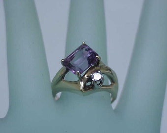 Estate Vintage  14k Yellow Gold  4.00ct Amethyst & Diamond Ring ,1930's