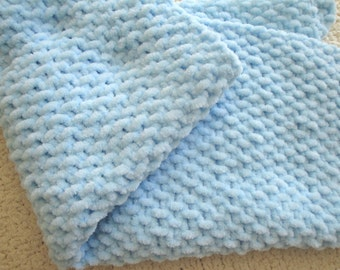 Blanket Lovey, Pale Blue, Chenille, Boy & Girl Baby Toddler, Knitted Security Blanket