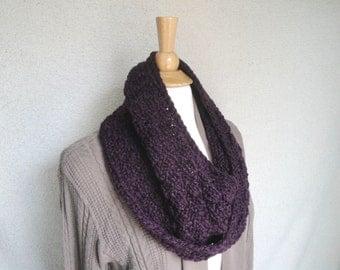 Chunky Cowl Scarf, Mobius Scarf, Eggplant Purple, Hand Knit, Women & Teen Girls, Soft Wide Warm