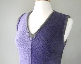 Hand Knit Vest, Sleeveless Sweater Vest, V Neck Pullover, S M, Purple & Brown, Women Teen Girls, Layering