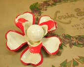 Red Flower Brooch Spring Jewelry Vintage 1960s