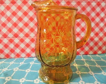 Libbey's Amber Glass Pitcher Country Garden Vintage 1970s