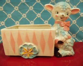 Vintage Lamb Planter Nursery Decor