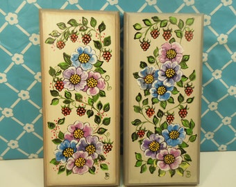 Pair Flower Plaques - Hand Painted - Wood - Made In USA