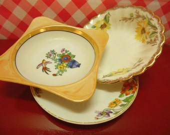Yellow Mismatched Dishes Shabby Decor Vintage Bride