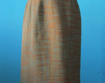 Brown and Blue Secretary Skirt