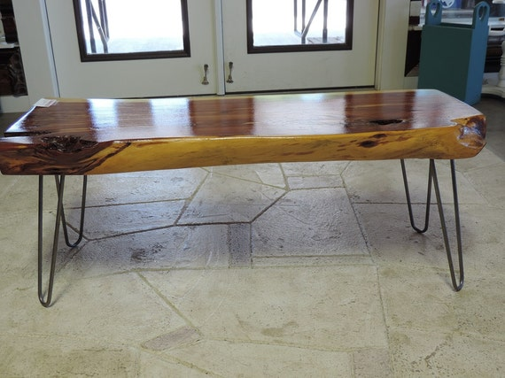 Live edge red cedar coffee table on hairpin legs shipping for