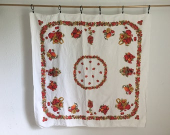 Vintage Tablecloth, Apples, Strawberry, Fruit Print Table Linens