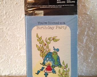 Vintage Stationery, Vintage Birthday Party Invitations, Vintage Paper Crafts, Vintage Turtles Cards