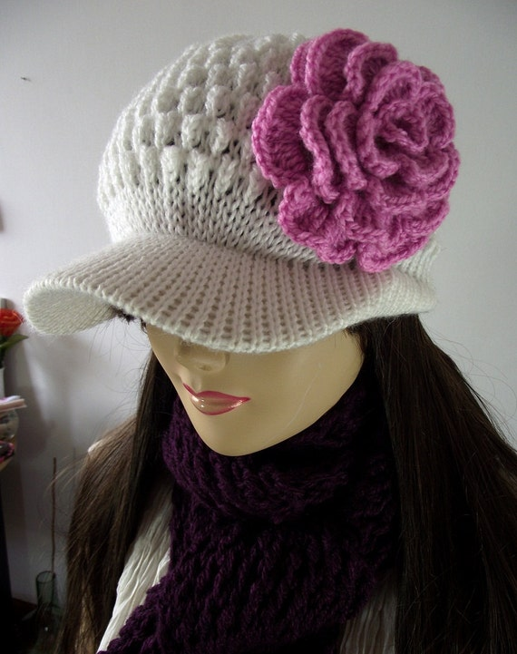 KNITTING HAT PATTERN Newsboy Brim Cap Claire Hat with Crochet