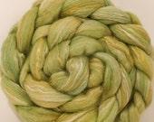Batt in a Braid #24 -corriedale/rose fiber/mulberry silk (60/20/20 ) - Himalayan Rhubarb - (4.2 oz.)
