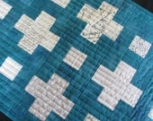 Modern Background Plus Grunge Teal Blue Quilted Table Runner Moda