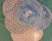 6 reusable flannel cotton nursing pads for bra A B C D DD nursing breastfeeding - baby bear starry night