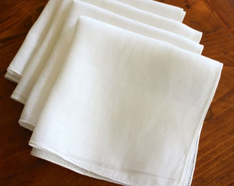 Vintage Linen Napkins 4 Luncheon Size White Cloth Simple Fine Irish Drawnwork Hankies