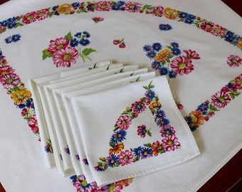 Vintage Linen Tablecloth 6 Napkins Printed Flowers White Pink Blue Yellow Set