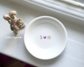 Personalized RING DISH, Engagement Gift Mug, Hand painted, Bridal shower gift, Customized Ring dish, Gold wedding gift, trinket dish