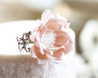 772_Delicate pink ring, Original gift,Flower jewelry, Bridesmaid gift, Flower Ring, Band ring, Bridesmaid gift idea, For her Adjustable ring