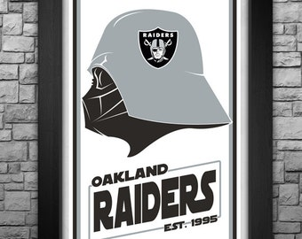 "DARTH VADER ""Oakland Raiders"" inspired limited edition art print. Available in 3 sizes!"