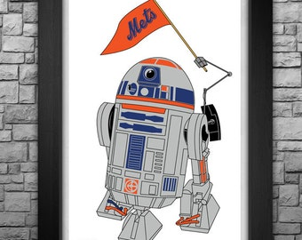 "R2-D2 ""New York Mets"" inspired limited edition art print. Available in 3 sizes!"