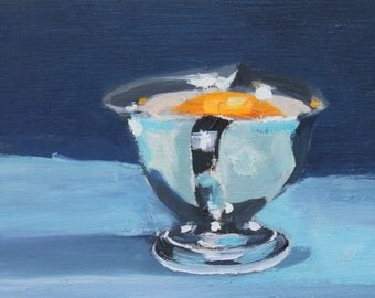 Small pitcher on Blue Still Life Painting, Original Oil on Wood Panel, 6x12 inch Canadian Fine Art Wall Decor