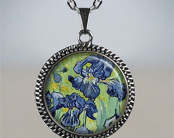 Van Gogh Irises necklace, iris pendant, Van Gogh art necklace, Van Gogh art pendant, iris necklace iris jewelry iris flower jewelry