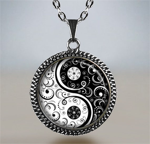 black and white yin yang necklace yin yang jewelry zen