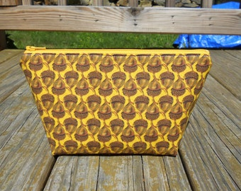 Small Makeup Bag, Acorns on Yellow, Acorn Bag, One of a Kind