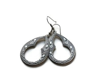 Vintage Boho Rustic Silver Statement Earrings- Teardrop Cutaways.