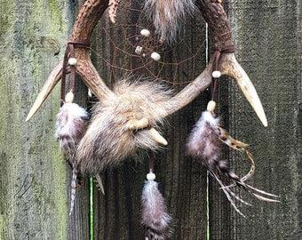 Deer Antler Dream Catcher coyote fur