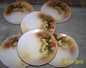 Set of 6 unusual Noritake Sandwich Plates, Handpainted