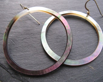SHELL HOOPS - Mother of Pearl, Black Lip Oyster, Beach Girl, 14kt Gold Filled Earrings