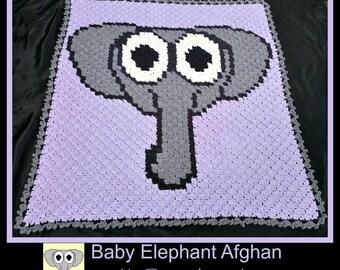 C2C Graph, Elephant Baby Afghan, C2C Graph, & Written Word Chart, Elephant graph, Elephant c2c