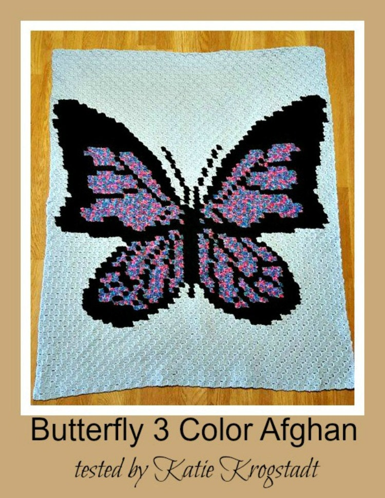 c2c graph  butterfly 3 color afghan c2c graph with written