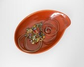 Trinket Dish - Kidney Shaped Jewelry Dish - Paisley Catchall Dish - Rust Burnt Orange Organizer Dish Plate