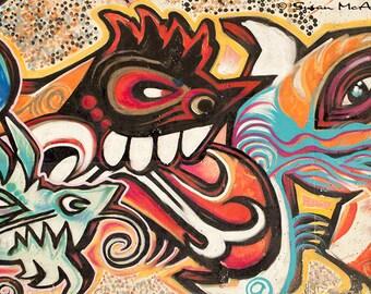 Feathered Friend, Graffiti Photograph, Urban Art, Photography, Wall Art, Home Decor, Office Decor, Contemporary, Modern, Edgy, Orange, Blue