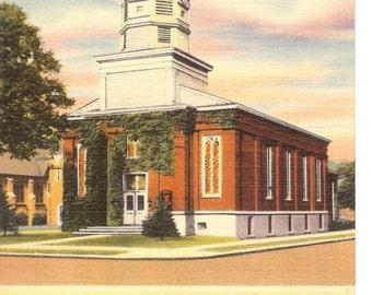 Vintage Linen Postcard....New York, Historical Baptist Church, Fredonia...Unused..no. 1960