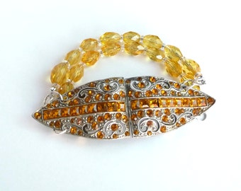 Handmade Bracelet Repurposed 1920s Art Deco Rhinestone Buckle Amber Citrine Color Rhinestones and 1920s Citrine Clear Glass Beads