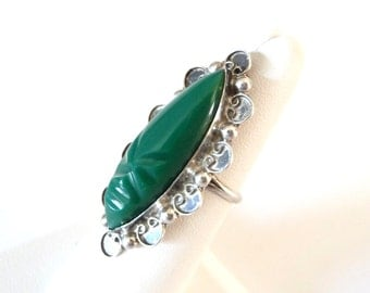 Large Green Onyx Carved Stone Ring 925 Sterling Silver Ring Size 7