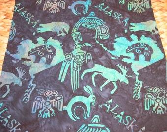 """14"""" x 14"""" Fine Batiks PILLOW COVER - Nautical blues Alaska Northwest Passage Totem Caribou Images"""