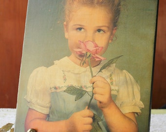 Vintage Photo, Decoupage on Wood, Little Girl with Rose