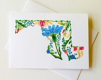 Maryland Note Cards drawn in wildflowers. Can be framed. Recycled brown envelopes. Thank you Note. Greeting Card. Happy Birthday